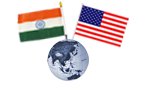 us-india flags on a globe